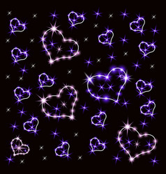 shining hearts retro neon sign heart vector image