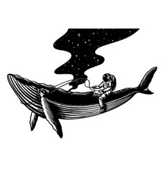spaceman and whale astronaut in solar system vector image