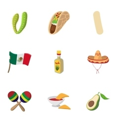 Stay in Mexico icons set cartoon style vector image