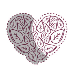 Sticker leaves with form of heart vector