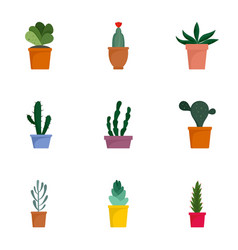 Succulent icon set flat style vector