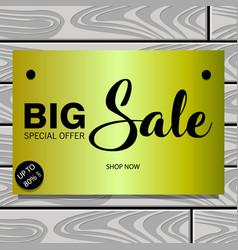 summer sale wooden board vector image