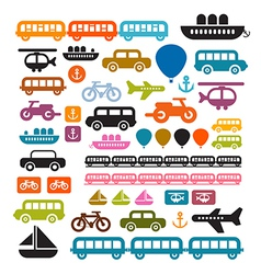 Transportation Icons Isolated on White Background vector image