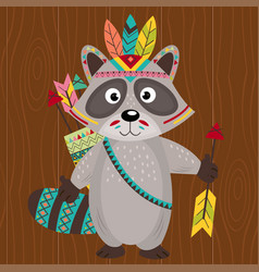 Tribal raccoon on wooden background vector