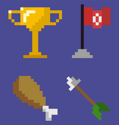 Trophy and flag on pole chicken and arrow set vector