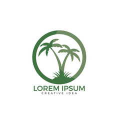 tropical beach and palm tree logo design vector image