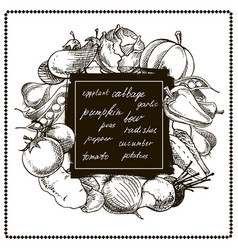 vegetables banner hand drawn vector image