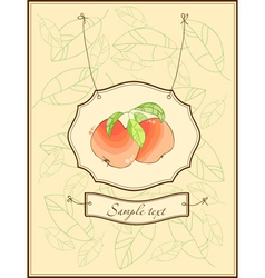 Vintage postcard with apples and leaves vector