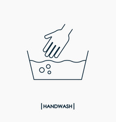 Wash hand outline icon delicate washing vector