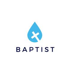 water drop christian cross baptist logo icon vector image