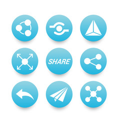 white sharing icons set vector image