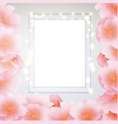 Window frame glow garland pink sakura flowers vector