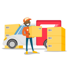 young african delivery man carrying cardboard box vector image