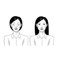 Young chinese girl with beauty mask vector