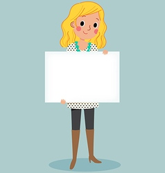 young girl holding blank sign vector image