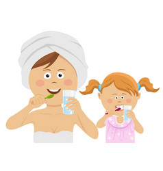 young mother with daughter brushing their teeth vector image