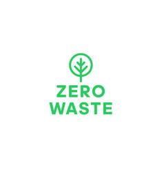 Zero waste green tree minimalistic logo eco label vector