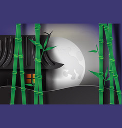 bamboo garden at night with japan style vector image