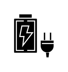 battery charger icon black vector image