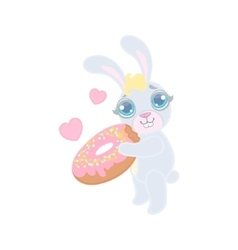 Bunny With The Giant Donut vector image vector image