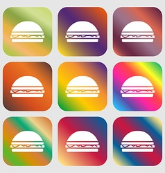 Hamburger icon sign Nine buttons with bright vector image vector image