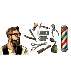 head hipster and equipment for barbershop vector image vector image