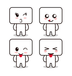 Kawaii cartoon face expression frames cute icon vector