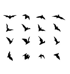 set of flying bat silhouette icons vector image vector image