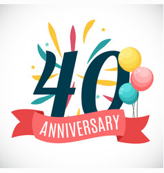 anniversary 35 years template with ribbon vector image