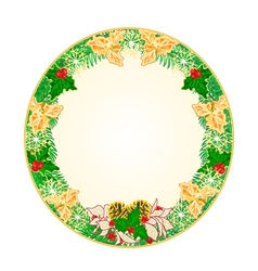 Button circular Christmas Spruce with holly vector image