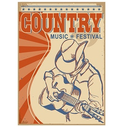 Country music background with textMusician in vector image vector image