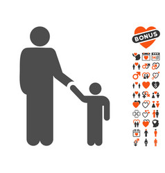 father child icon with dating bonus vector image vector image