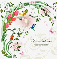 Invitation card with spring flowers With love for vector image vector image