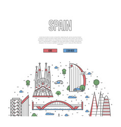 spain travel tour poster in linear style vector image