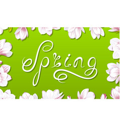 spring border frame with beautiful magnolia vector image vector image