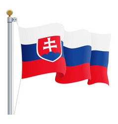 waving slovakia flag isolated on a white vector image vector image