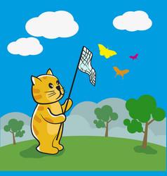 cat is catching butterflies vector image vector image
