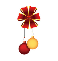 christmas balls red and golden bow hang decoration vector image