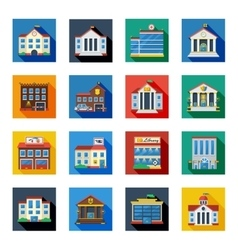 Government Buildings Icons In Colorful Squares vector image vector image