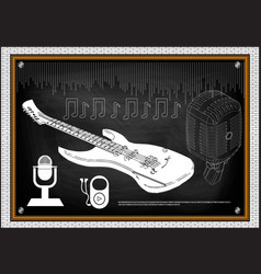 guitar microphone and notes vector image