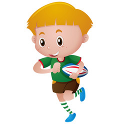 little boy playing rugby vector image