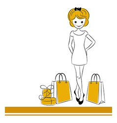 Pretty blond girl with sale bags vector image vector image