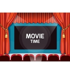 Vintage theater stage with red curtains and vector image vector image
