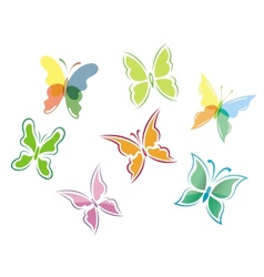 Butterfly symbols and icons vector image