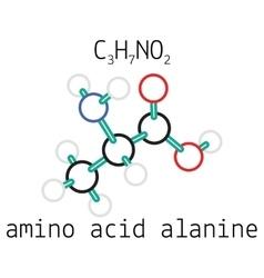 C3H7NO2 alanine amino acid molecule vector image