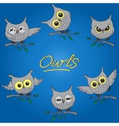 Cartoon owls in different moods vector image
