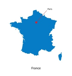 Detailed map of France and capital city Paris vector image vector image