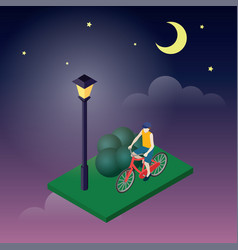moonligt night in park male cyclist riding on a vector image vector image