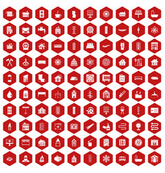 100 heating icons hexagon red vector
