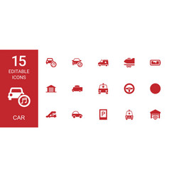 15 car icons vector image